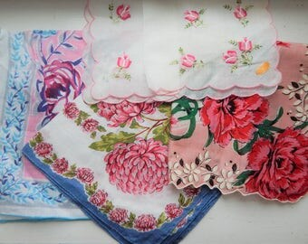 4 Vintage Pink Hankies: Embroidered Swiss; Scalloped Edges;  Floral Hand-Rolled Edges