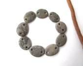 Rock Links Mediterranean Beach Stone Jewelry Links River Rock Beach Pebble Diy Jewelry Beads River Stone Connectors GREY LINKS 14-16 mm