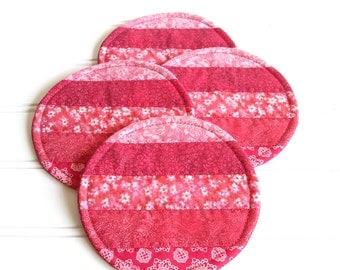 Fabric Coaster Set, Pink Coasters, Round Mug Rugs