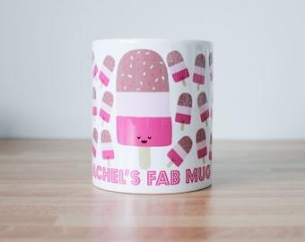 Fab Lolly Ice Cream Personalised Mug - custom name - any name - retro lolly