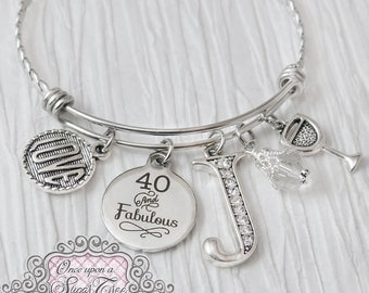 40th Birthday Gifts for Women, Birthday Jewelry, or 50 and Fabulous, Birthday Bracelet, Personalized Bangle- Milestone Jewelry, Wine Gift