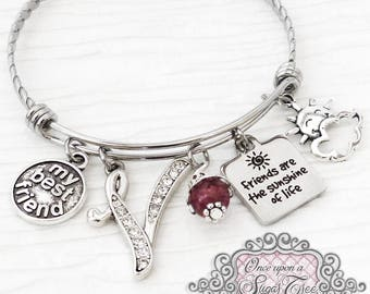 Best Friend Gift, My Best Friend, Birthday Jewelry, Friends are the sunshine of life Bracelet, Friend, Personalized Bangle-Friend Jewelry