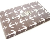 GRAY NAUTICAL ANCHORS Light Switch Cover Plate Switchplate Sailing Nautical Decor Grey