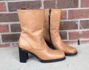 vtg 90s tan TOMMY HILFIGER platform BOOTS chunky 8 stars grunge preppy heels shoes light brown