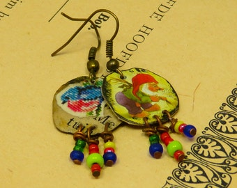Small recycled tin La Chouffe earrings with colorfull glass beads