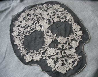 """Embroidered Flowers Sugar skull applique black Net Lace 10"""" x 13"""" large embellish t-shirt retro altered couture day of the dead spooky chic"""