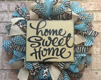 Farmhouse Burlap Wreath, Animal Print Deco Mesh Wreath, Home Sweet Home Burlap Wreath