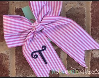 Monogrammed large hair bow