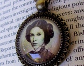 Steampunk Star Wars (N702) Princess Leia Necklace, Vintage Style Artwork, Sepia Tone Sparkle Image of Leia Organa Pendant, Bronze Framework