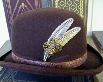 Silver Plated Brass Feather Hat Pin (HP700)  Bronze Gears and Swarovski Crystals, Tie Tack