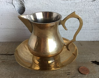 Brass creamer with bowl. Small brass pitcher.
