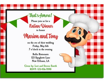 Italian Party Invitation Printable or Printed with FREE SHIPPING - Pizza Pasta Italian Rehearsal Dinner Party - Italian Waiter Collection