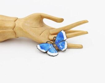 Art Deco Enamel Butterfly Brooch Guilloche