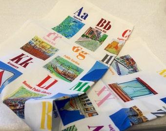 ABC Boston tea towel or dish cloth (dish towel) in linen-cotton