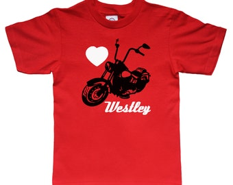 Valentine Personalized Motorcycle Bike Shirt for Kids - Valentine Gift Idea - Any Name - Choose your colors!