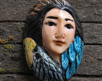 Hand Painted Carved Bone Face Cabochon