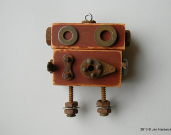 Robot Ornament - Lil' Rusty Bot - Upcycled Ornament - Hanging Decor by Jen Hardwick