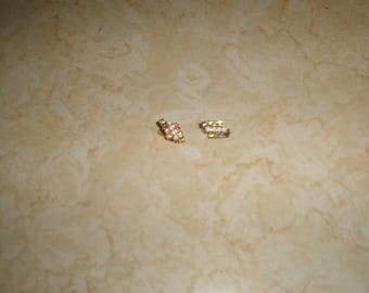 vintage clip on earrings goldtone rhinestones white beads small