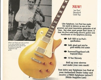 1994 Advertisement Epiphone Les Paul Great Guitarist Standard Gold Top Nashville Celebrity Musician Studio Store Rock Music Wall Art Decor