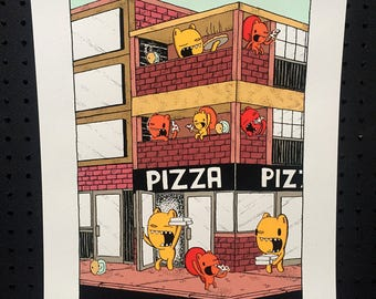 pizza place screen print, art print, kids room art, nursery art, pizza print, kitchen print