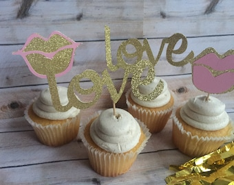 pink lips and glittery love font cupcake toppers,glitter lips toppers for cupcakes, cupcake decor for valentines day, wedding cake toppers
