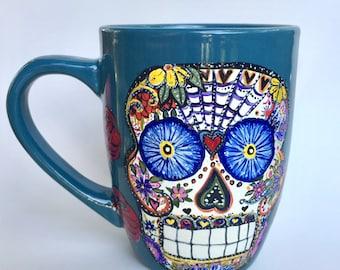 Sugar Skull Coffee Mug - RESERVED custom order