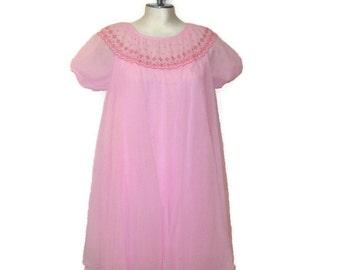 60s Pink Nightie Short Nightie Vintage 1960s Pink Sleepwear Baby Doll Nightie Pink Chiffon Nightie Bright Pink Nightie Babydoll Pajamas