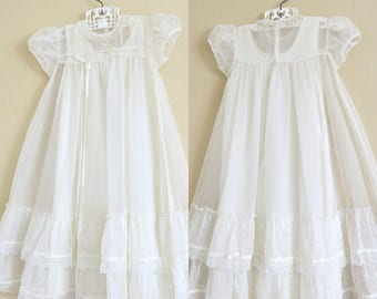 1950s Christening Gown and Slip White Nylon Ruffles Lace Ribbons 3 to 12 Months 797b