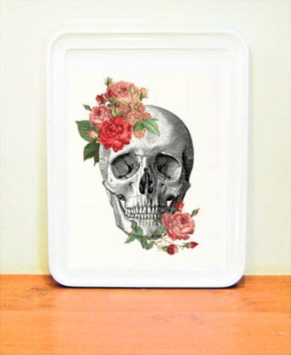 Springtime Roses Skull. Doctors gift Print- A4 Wall art Human anatomy print- Chic Science prints wall art flowers art, Skull print SKA227WA4