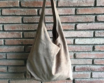 Large TOTE leather bag in light BEIGE. Soft natural suede leather bag. Bohemian bag. BEIGE suede bag.