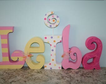 Wood letters, Nursery letters, 5 letter set, Pink room decor, Wooden letters for nursery, Name letters, Girls room decor, Name sign
