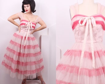 Vintage 1950's Emma Domb Pink Tulle Striped Prom Dress • 50's Designer Candy Cane Striped Party Dress • Size XS
