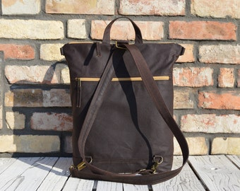 Waxed Canvas Vegan Backpack, Brown Minimalist Rucksack, Functional Waterproof Laptop Carrier, available in two sizes, Unique Christmas Gift