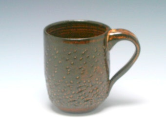 Coffee Mug, 12 oz, handthrown ceramic mug, stoneware pottery mug, textured coffee mug burnt umber with beige flecks/Ceramics and Pottery