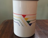 Enamelware Utensil Holder Vessel Primary Rainbow Triangular Design Chrome