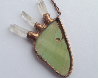 Crystal Jewelry / Luna Moth / Real Butterfly / Crystal Necklace / Butterfly Jewelry / Quartz