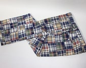 newer vintage -Berle- Men's pants. Genuine Madras patch work - Blue combo. Flat front - Fully lined.  Size 40. Made in USA