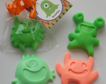 10 MONSTER SOAP Favors {With Tags & Ribbons} - Monster Birthday Favor, Monster Bash, Little Monster Baby Shower, Halloween Party Favor