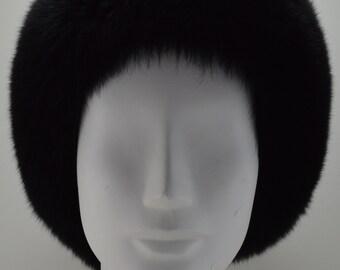 Black Fox Fur Headband new made in the usa