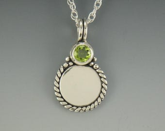 P645- Sterling Silver Peridot Pendant- One of a Kind