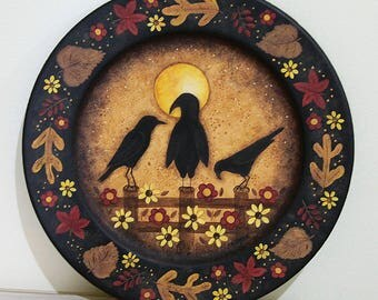Three Primitive Crows Sitting on a Fence in Moonlight, Hand Painted Wood Plate, Americana Folk Art, Fall Halloween Decoration MADE TO ORDER