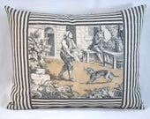 French Country Pillow Toile de Jouy Lumbar Pillow Cover Toile and Ticking Lumbar 12x16 pillow cover