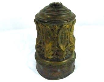 Lamp Part Metal French Antique Brass Bronze Finish 1900s Antique Nouveau Signed