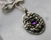 sterling silver 14k amethyst violet flower pendant organic nature one of a kind on sterling silver 23 inch chain with handmade clasp