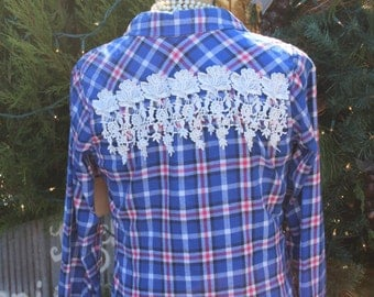 Small Flannel Shirt with Rose Lace Fringe  blue and pink plaid shirt, upcycled fashion, vintage lace, size small flannel and lace shirt FF92