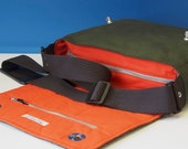 Waxed Cotton Messenger Satchel with Harris Tweed flap for Tablet, Camera, eReader, Laptop etc.
