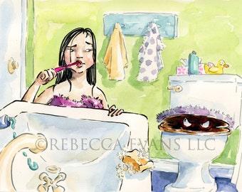 Illustration Art Print of Little Girl and Toilet Monster 8.5x11