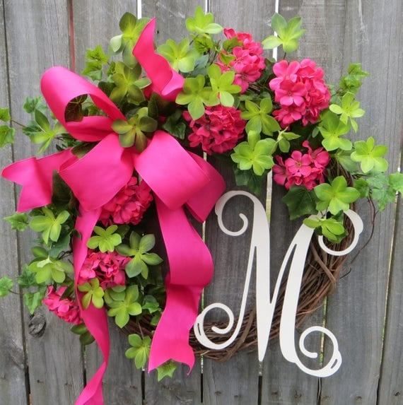 Spring / Summer Door Wreath, Wreath for Spring / Summer, Hot Pink Wreath, Spring Monogram Wreath, Wreath with Letter, Etsy