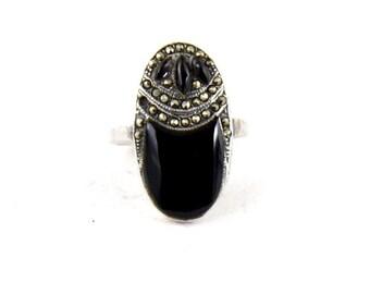 Art Deco Sterling Silver, Marcasite & Onyx Gemstone Gothic Ring