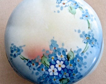 An Edwardian Dresser Box Powder Jar Forget me Not Austria